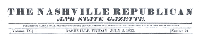 masthead from Repulican and Gazette from July 5, 1833