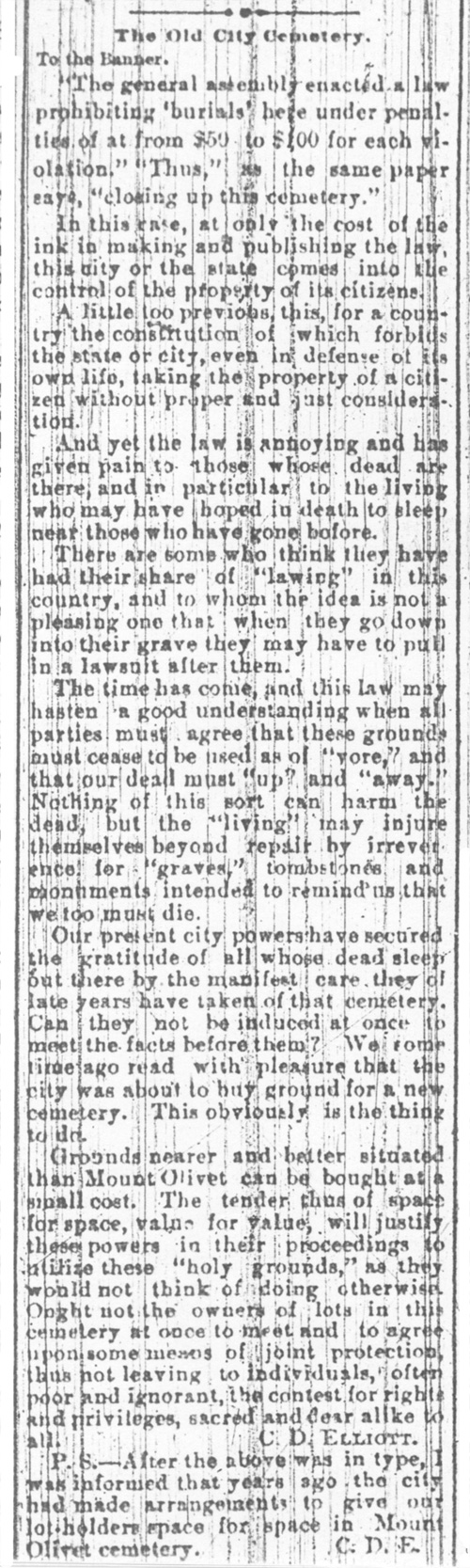 Letter to Editor April 1885