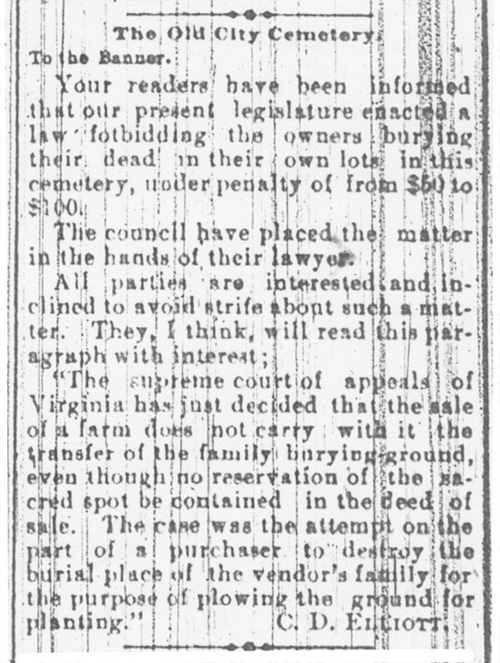 Letter to Banner May 1885