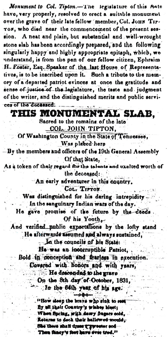 Newspaper text on Tipton Monument